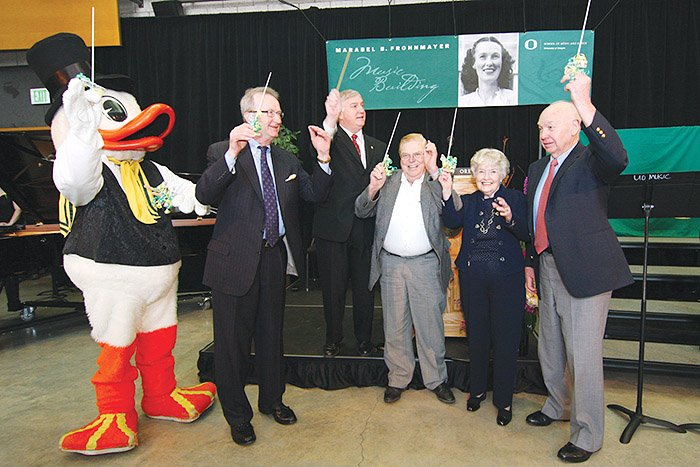 In 2009, the Duck, Dave Frohnmayer, Brad Foley, Lorry Lokey, and Leona and Robert DeArmond celebrated a successful expansion and renovation project at the MarAbel B. Frohnmayer Music Building.